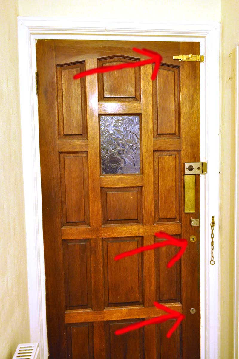 Superb Front Door Bolts Part - 5: WHO ON EARTH Thought, U201cYou Know What U2013 We Could Put A Door Knob Here And  Some Dead Bolts People Could Twist From The Inside, But Letu0027s Not.